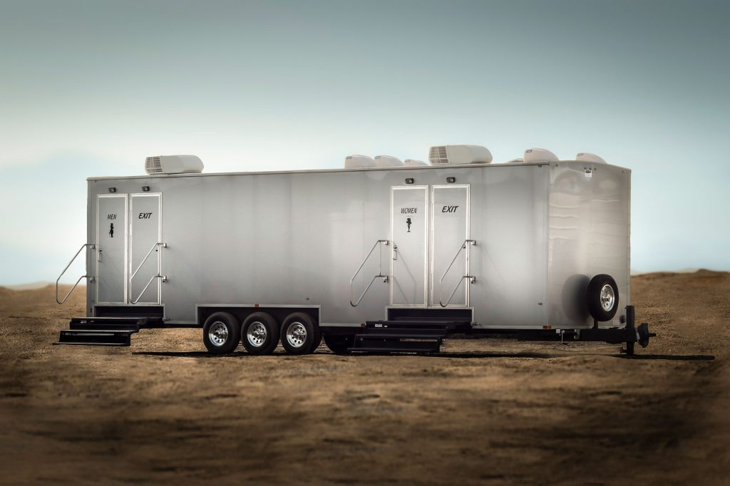 A large luxury portable restroom trailer