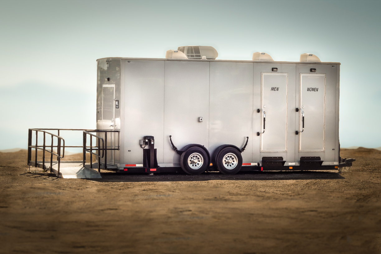 Accessible mobile bathroom trailer suite