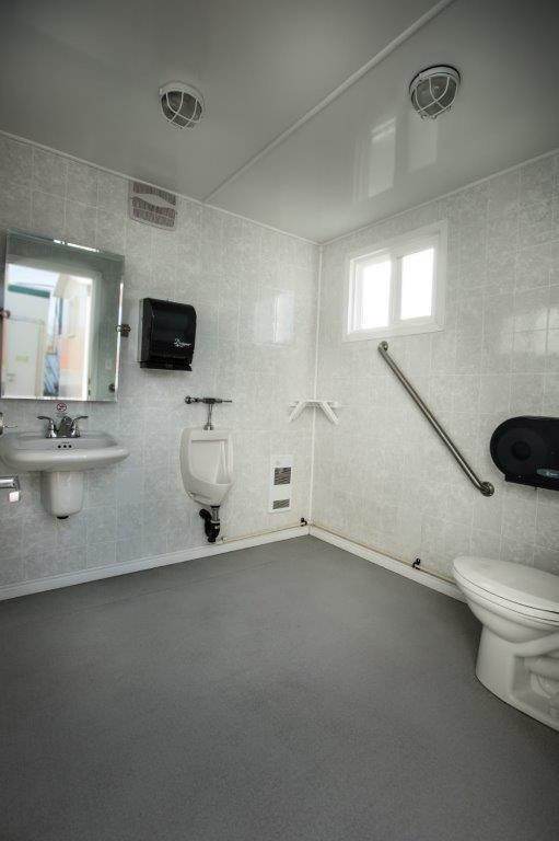 BMEC Sales office portable restroom trailer interior