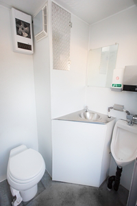 The inside of our self-contained washroom unit