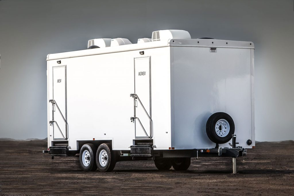A luxury portable restroom trailer
