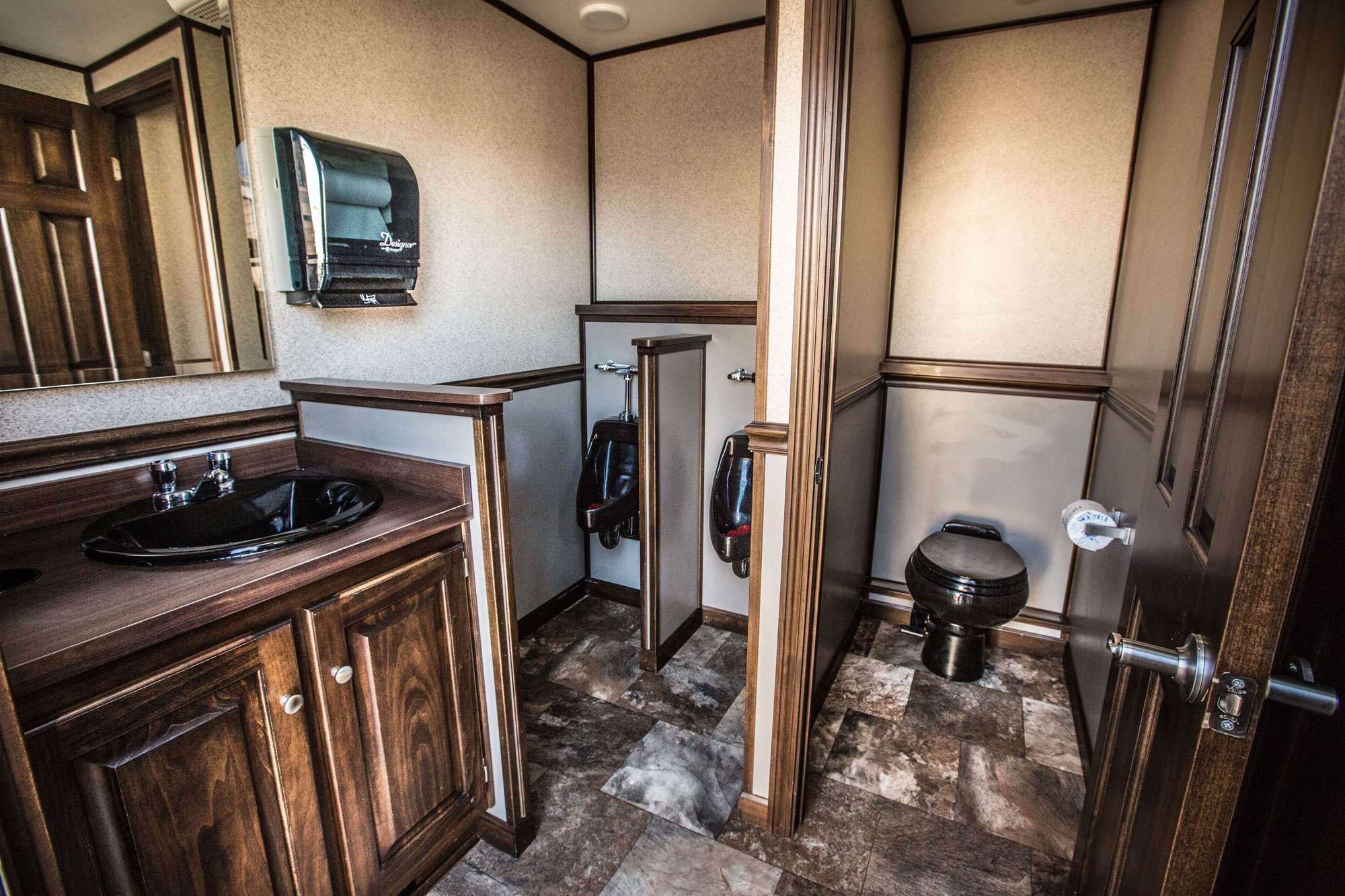 Interior of the Elegance 300 portable washroom for special events