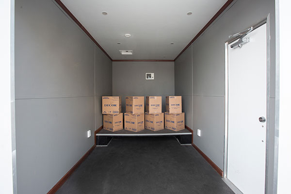 The command trailer has ample room for storage