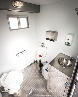 Interior of Double Comfort portable bathroom trailer