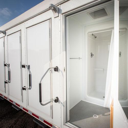 The open door of a shower trailer
