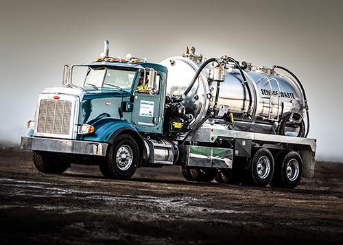 A waste pumper truck