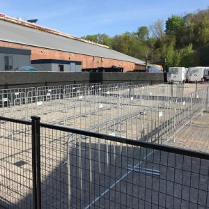 a long queue made manageable using temporary fencing