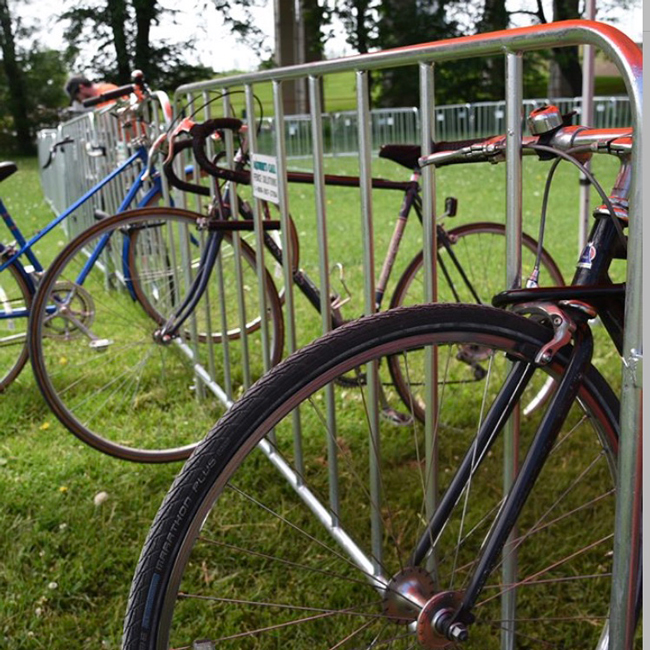 a large bike valet made easy using temporary fencing